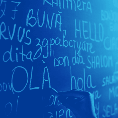 Words in different languages on a classroom chalkboard